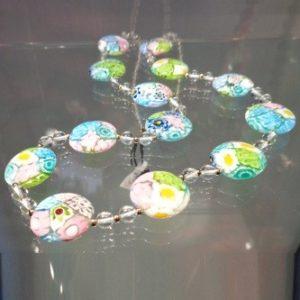 Collier de perles murrines millefiori pastelles plates