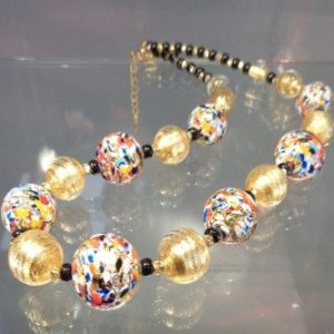 Collier perles feuille d'or et perles multicolors