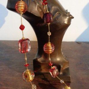 Parures perles artistiques spirales rouges...