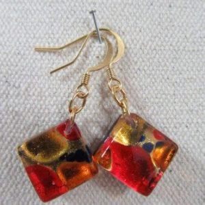 Boucles d'oreilles ARF rouges
