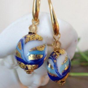 Boucles d'oreilles bleues et feuille...