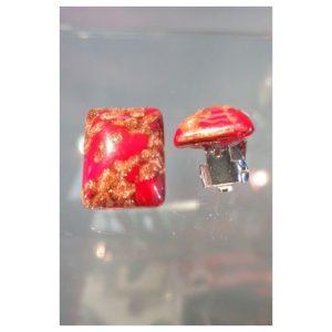 Boucles d'oreilles clips rouges aventurine