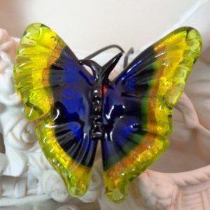 Pendentif papillon bleu et jaune