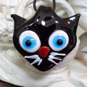 Pendentif tête de chat noir