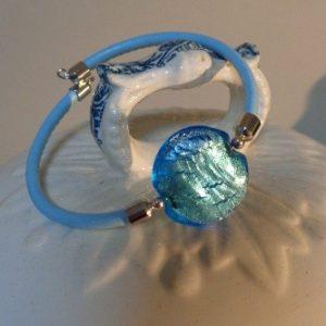 Bracelet perle bleu azur avec...