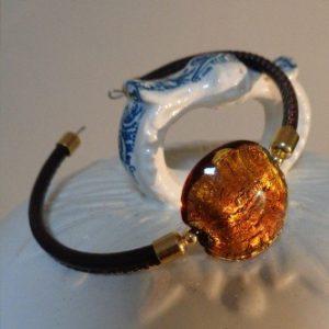 Bracelet perle ambre avec feuille...