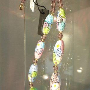 Collier perles murrines pastelles ovales
