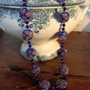 Parure perles murrines bleues rondes...