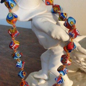 Collier perles murrines cubes millefiori