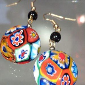 Boucles d'oreilles murrines millefiori multicolors plates