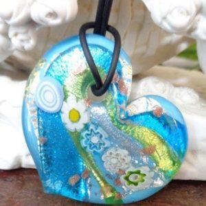 Pendentif Coeur bleu et murrines