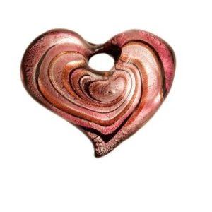 Coeur Spirale Mauve avec Cordon