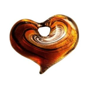 Coeur Spirale Ambre avec Cordon