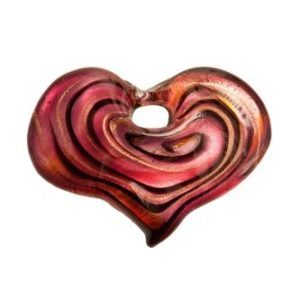 Coeur Spirale Rose avec Cordon
