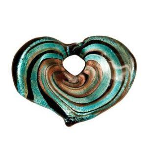 Coeur Spirale Bleu avec Cordon