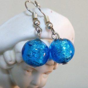 Boucles d'oreilles bleues azur et...