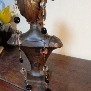 Sautoir perles noires dichroiques et feuille d'or