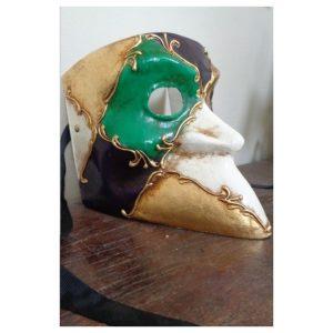 Masque Bauta vert et violet...