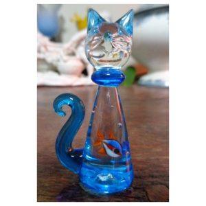 Sculpture chat avec poisson rouge...
