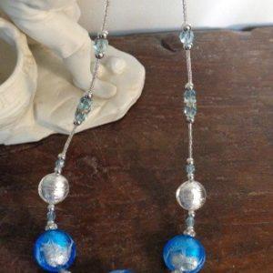 Collier Artifice bleu et argenté