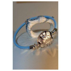 Bracelet perle feuille d'argent