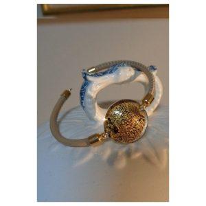 Bracelet perle feuille d'or