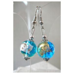 Boucles d'oreilles Klimt bleu azur