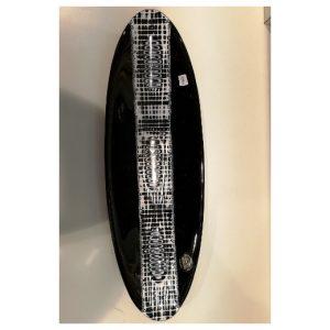Plateau noir ovale en verre...