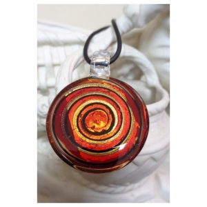 Pendentif rond spirale rouge et...