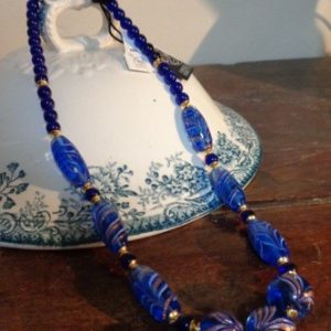 Collier perles bleues style phéniciennes