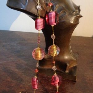 Parures perles artistiques spirales roses...