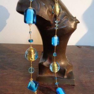 Parures perles artistiques spirales bleues...