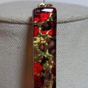 MEDAGLIA bijoux en verre de Murano fusing couleur rouge et feuille d'or avec cordon murano