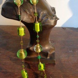 Parures perles artistiques spirales vertes et feuille d'or