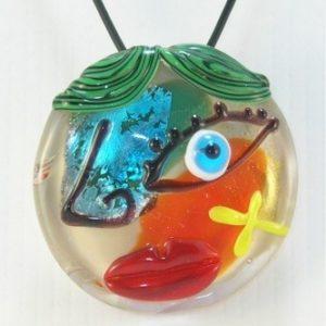 Pendentif Picasso en verre de...