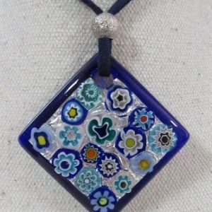 pendentif Losange Murrines bleues
