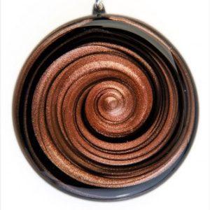 Médaille spirale noire et aventurine
