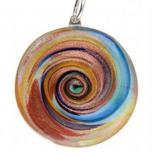 Médaille spirale blanche multicolor feuille...